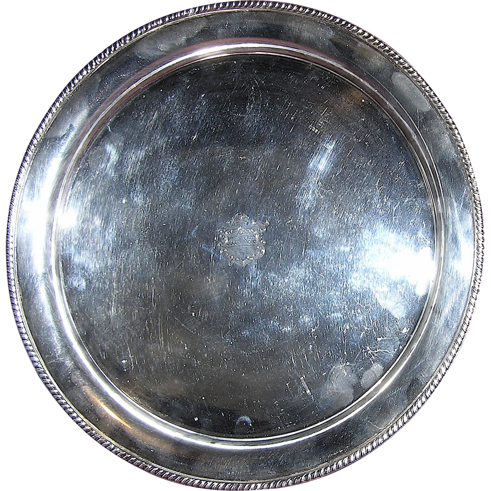 """Antique Sheffield England Sterling Silver over Copper Round 10.5"""" Tray"""