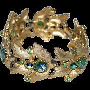 SALE RARE Judy Lee 1958 Green Foiled Art Glass Bracelet, Book Piece