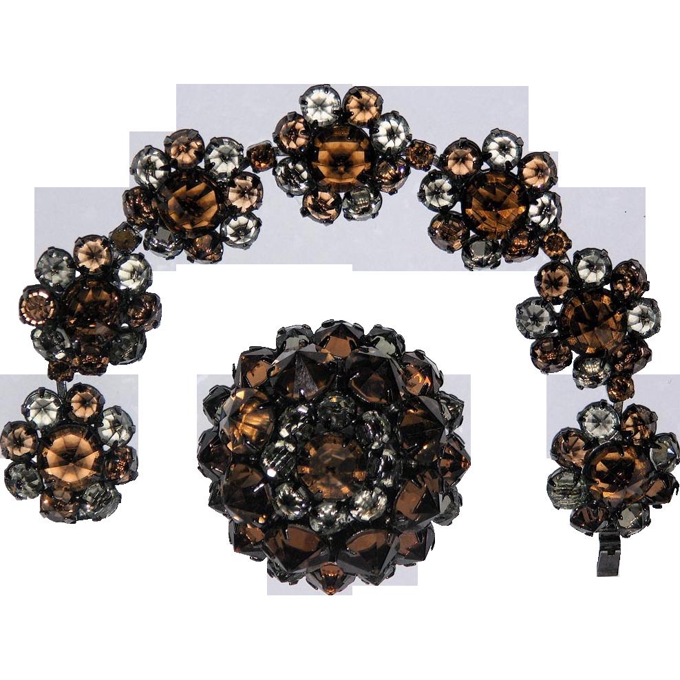 RARE Kramer New York Inverted Stones Brooch & Bracelet Set