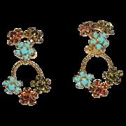 Austria Signed Flower Turquoise Glass, Olivine & Citrine Rhinestone Drop Earrings