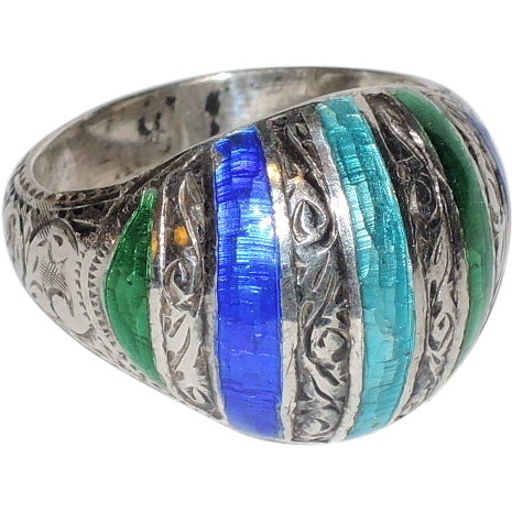 Siam Sterling Silver, Etched, Blue-Green Enamel Dome Ring ~ Size 5