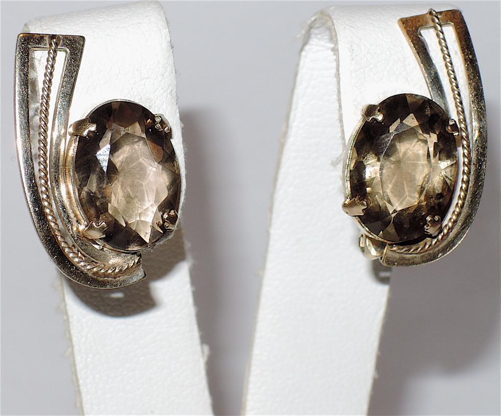 Topaz Faceted Glass & 12K Gold Filled Earrings ~ Vintage 1960s