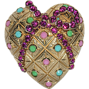 SALE Castlecliff Candy Heart Bow Glass & Rhinestone 3D Brooch