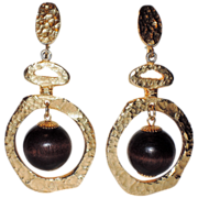 REDUCED Vendome 1967 Bolder Than Gold Wood Bead Drop Earrings