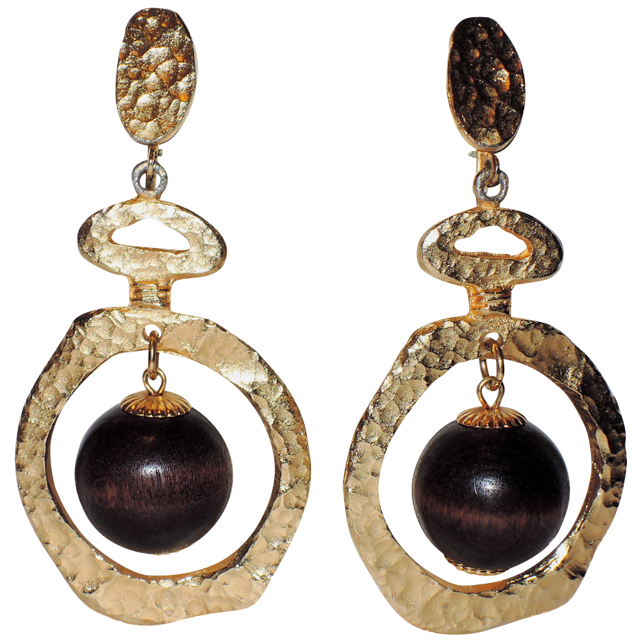 Vendome 1967 Bolder Than Gold Wood Bead Drop Earrings