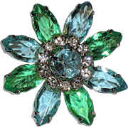 Daisy Flower Aqua Blue & Spring Green Glass & Rhinestones Brooch