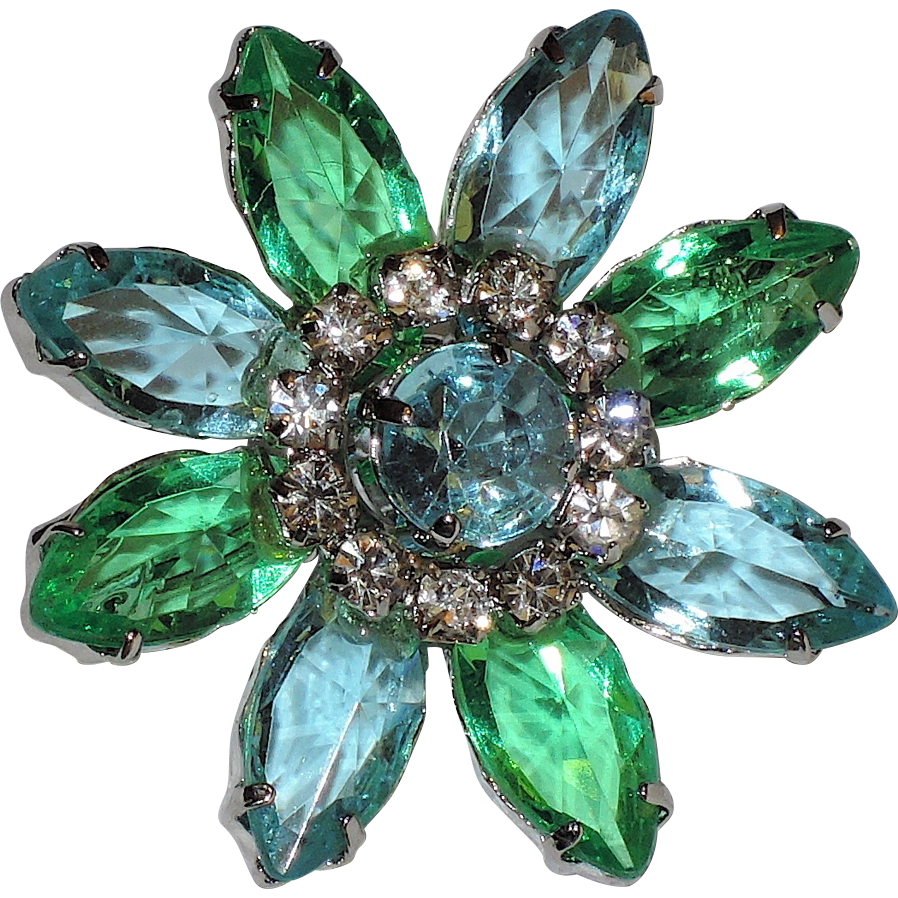Daisy Flower Aqua Blue & Spring Green Glass & Rhinestones Brooch