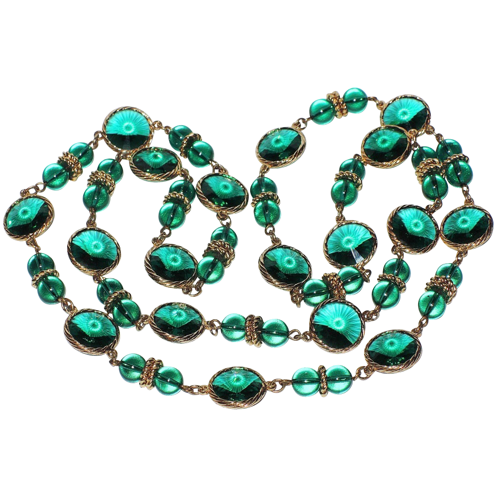 "RARE Swarovski Emerald Green Rivoli Crystal Sautoir Necklace ~ 34"""