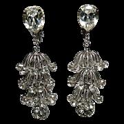 SALE Napier 1960's Tiered Rhinestone 3D Chandelier Drop Earrings