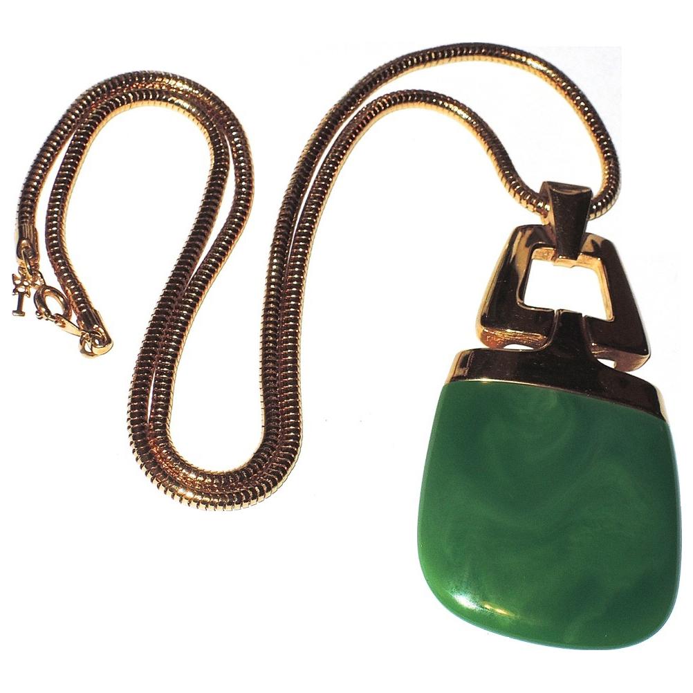 Trifari 1970s Lanvin-style Jade Green Lucite Pendant Necklace ~ Book Piece