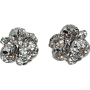 Weiss Pave Swirl Rhinestone Earrings 1950's