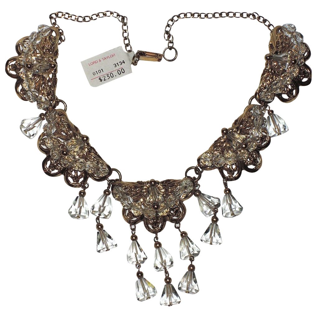 Napier 1955 Drippy Crystal Necklace ~ Eugene Bertolli, Book Piece