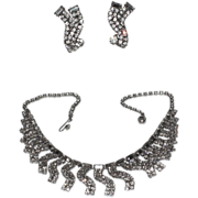 REDUCED Weiss 1950's Wavy Rhinestone Necklace & Earring Set