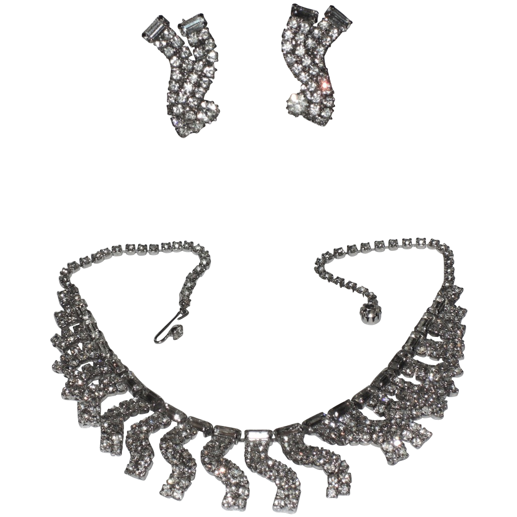 Weiss 1950's Wavy Rhinestone Necklace & Earring Set
