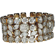 Hattie Carnegie Clear-White Givre Glass Bracelet