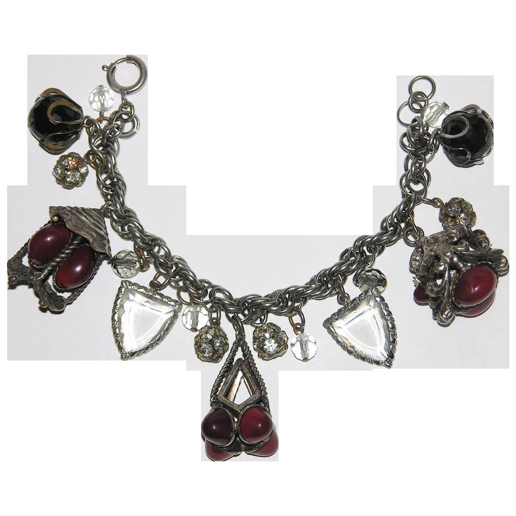 Accessocraft N.Y.C. 1960's Red Glass Lantern Charm Bracelet