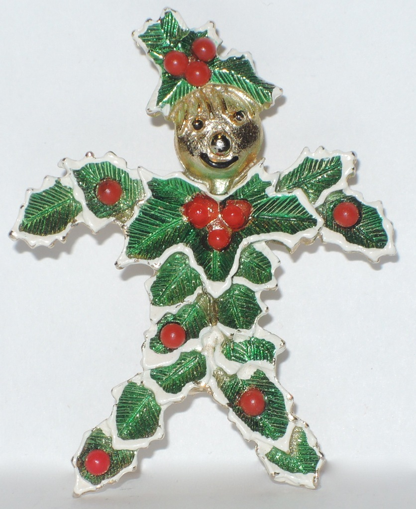 RARE Beatrix Signed Christmas Holly Man Pin ~ Book Piece