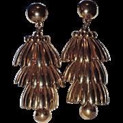 REDUCED Napier 1950's HUGE Golden Umbrella Chandelier Earrings ~ Book Piece