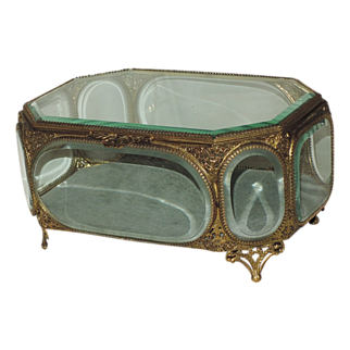 "REDUCED Large Antique 19th Century French Jewelry Casket ~ 9.5"" X 6.5"""