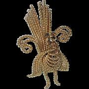SALE A & Z Peacock (Turkey?) 12K Gold Filled Brooch, 1950's