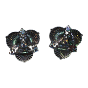 RARE Jomaz 1950's Pressed Glass Shell Earrings