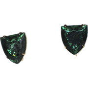 Accessocraft N.Y.C. 1960's Green Glass Shield Earrings