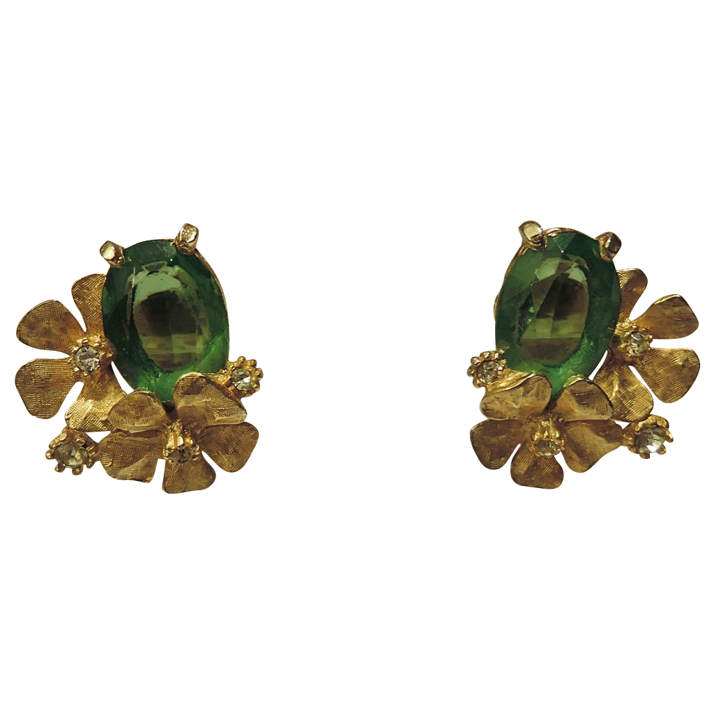 ART signed 3D Dogwood, Green Glass & Rhinestone Earrings ~ RARE