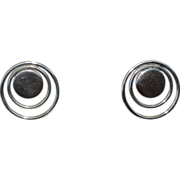 Modernist Vintage 1970s Sterling Concentric Circle Pierced Earrings