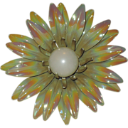 SALE 1960's Carnival Glass-Look Enamel 3D Metal Flower Power Brooch