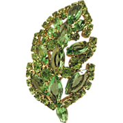 Weiss Signed 1960's Spring Green Leaf Brooch