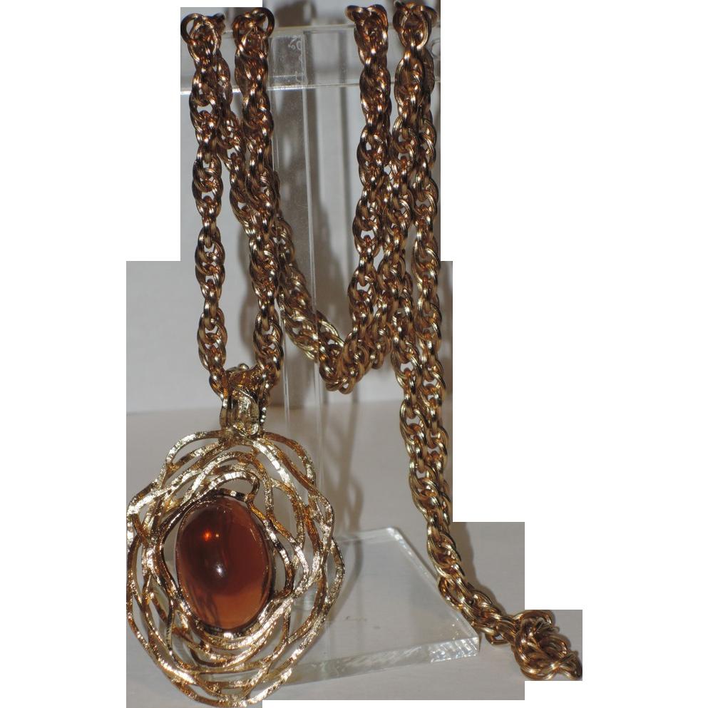 Napier 1973 Eugene Bertolli Modernist Pendant Necklace ~ Book Piece