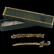 SALE Victorian Antique Gilt Sword & Scabbard Pin ~ Genuine Jade & Pearl