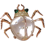 REDUCED Coro 1944 Twinkling Twin Beetle Jelly Belly Sterling Dress Clip ~ Patented Book Piece