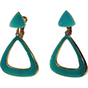 REDUCED Vendome 1960's Mod Teal Green Enamel Triangle Drop Earrings