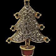 REDUCED Carolee Pave Rhinestone Christmas Tree Pin ~ RARE Book Piece
