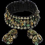 Alice Caviness Rhinestone & Faux Pearl Japanned Bracelet & Earring Set