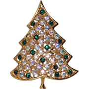 Hedy Rhinestone Aurora Borealis Christmas Tree Pin ~ Book Piece
