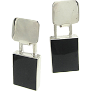 REDUCED Taxco Sterling Silver & Onyx 1960's Modernist Earrings ~ Pierced