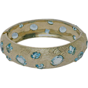 SALE Castlecliff 1950's Aqua Stone Bangle Bracelet