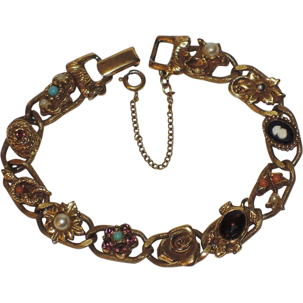 Signed Goldette N.Y. Signed Victorian Revival Link Bracelet