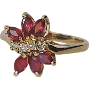 REDUCED Ruby, Diamond 14K Gold Ring ~ Vintage 1970's ~ Size 6 US