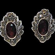Art Deco Garnet Sterling Marcasite Earrings