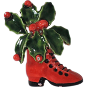 SALE PENDING RARE Original by Robert Christmas Holly Boot Pin ~ Book Piece