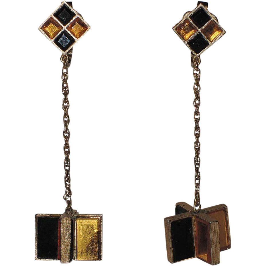 Trifari 1966 Hall of Mirrors Glass Tile Drop Earrings