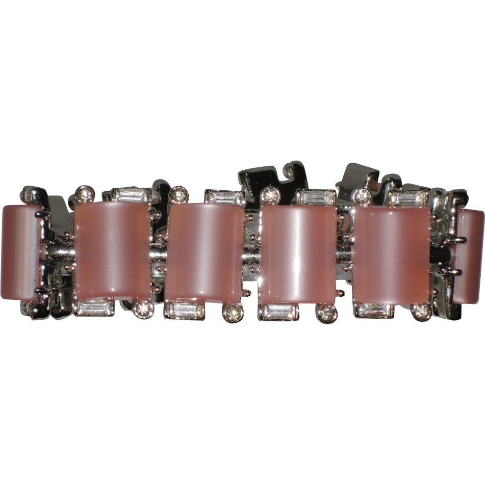 Kramer of New York Pink Thermoset & Rhinestone Bracelet ~ MINT