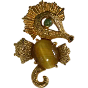 REDUCED Alice Caviness Sterling Vermeil Seahorse Gemstone Pin