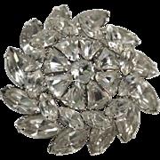 REDUCED Weiss 1950's Pinwheel Snowflake Bell-shaped Rhinestone Brooch