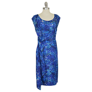 "REDUCED 1950's Silk Blue Floral Drape Cocktail Wiggle Dress ~ 40"" Bust"