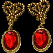 "REDUCED Accessocraft N.Y.C. 1960's Red Glass ""Cut Steel"" Drop Earrings"