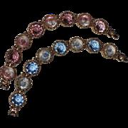 SALE ART Signed 1960's Pink & Blue Givre Glass Bracelets ~ Mint!